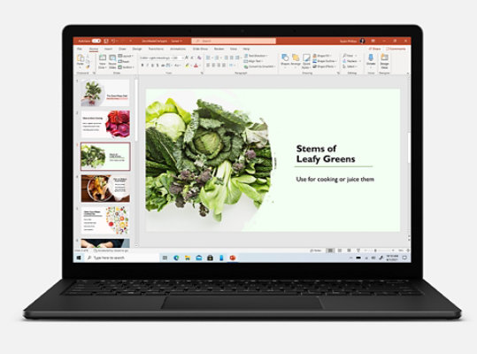 Microsoft PowerPoint on Surface Laptop 4.