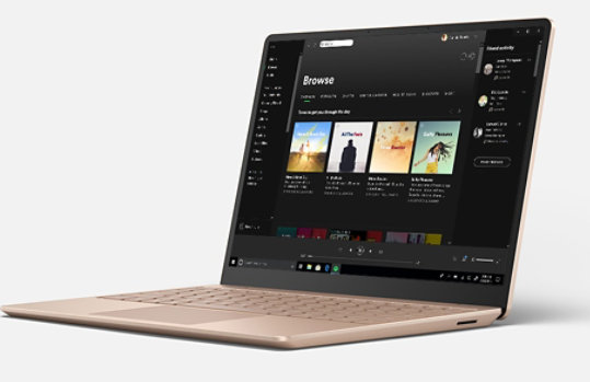 Spotify music app on the screen of Surface Laptop Go.