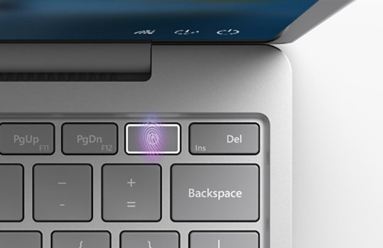 One Touch fingerprint sign-in key on Surface Laptop Go.