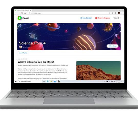 Surface Laptop Go running Flipgrid.