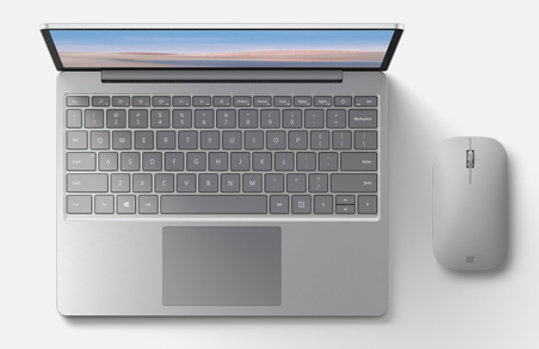 Surface Laptop Go with Surface Mobile Mouse.