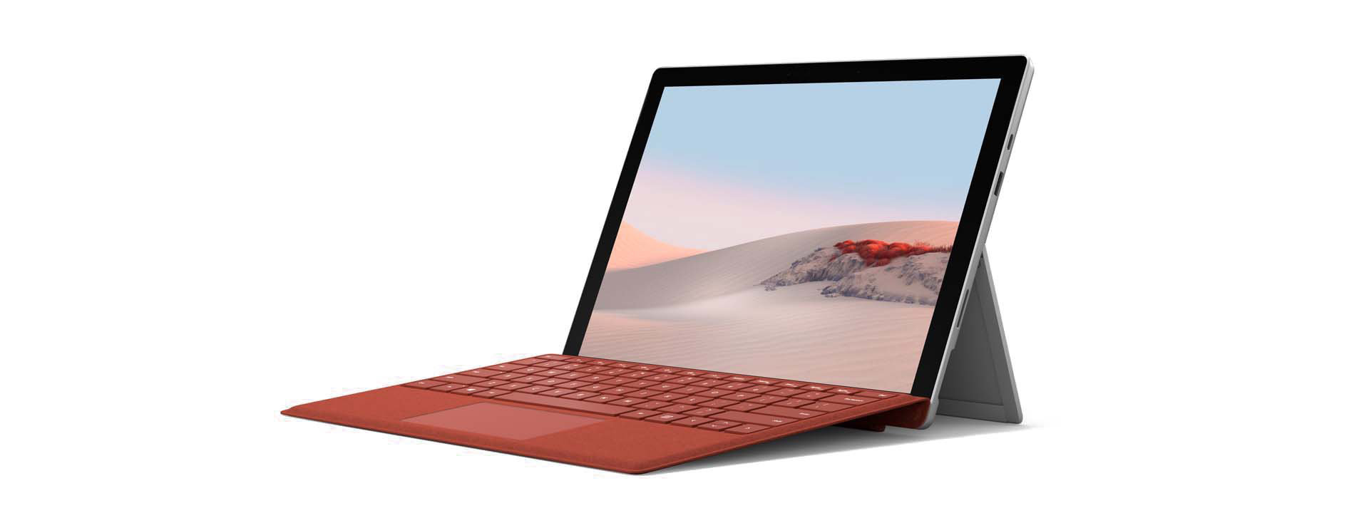 Surface Pro 7 with Surface Type Cover at an angle.