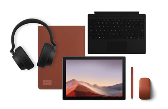 Surface Pro 7 with multiple accessories.