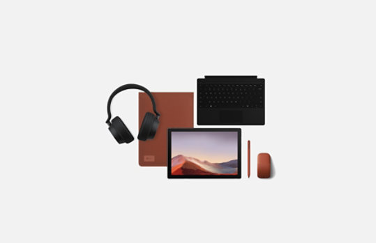 Surface Pro 7 with matching accessories.