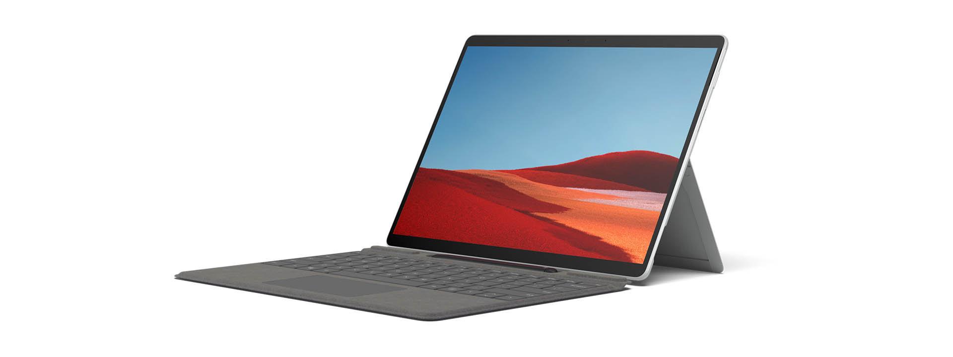 Rotating image of Surface Pro X.