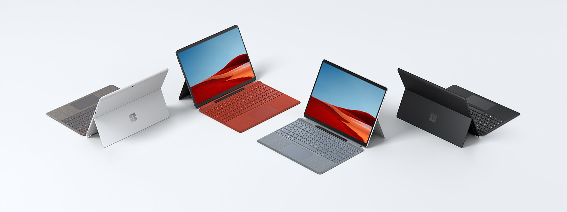 A collection of Surface Pro X devices.