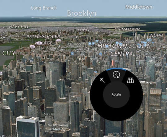 Dial interface on Windows Maps.