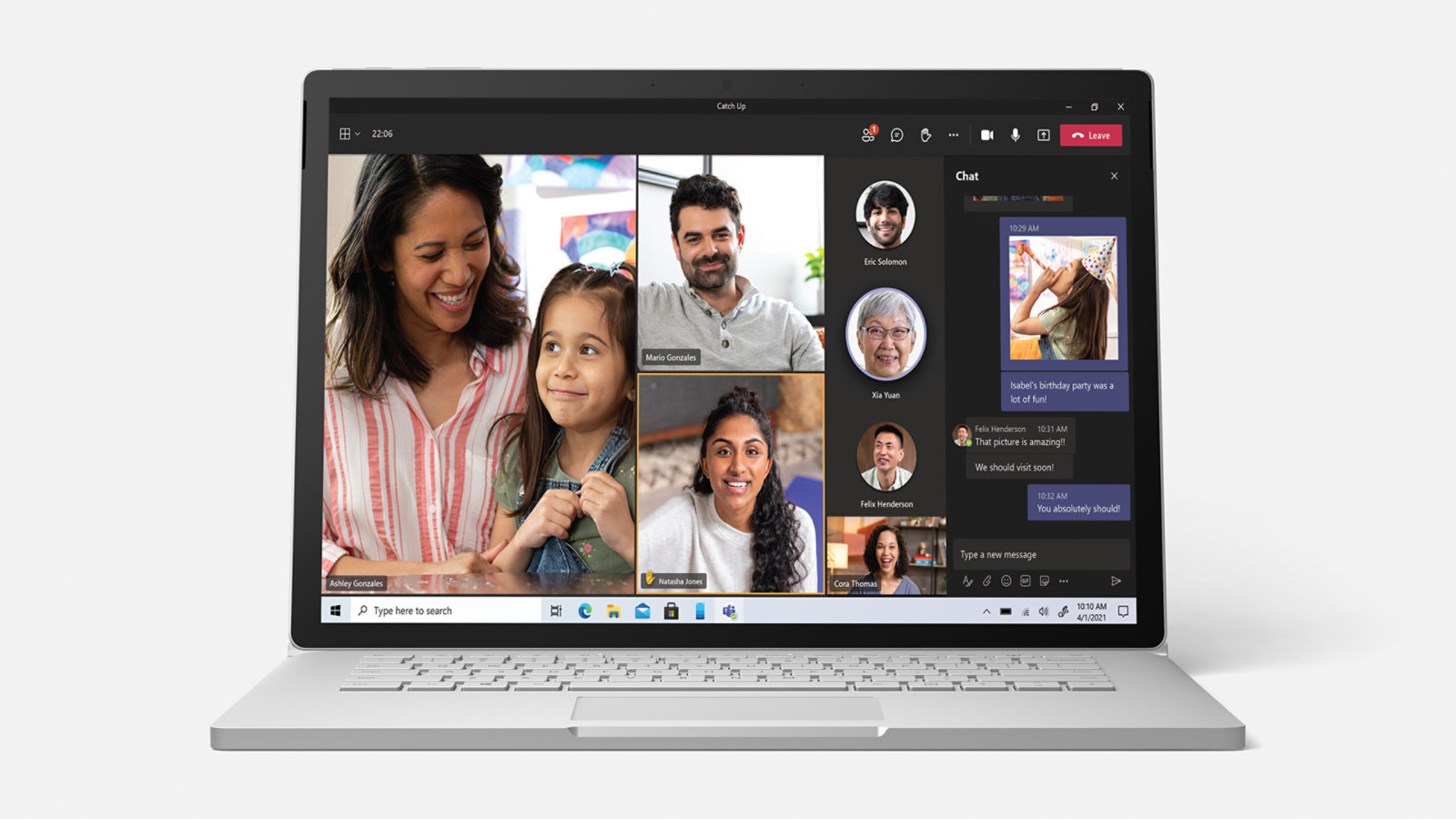 Teams UI screenshot for a family video call.