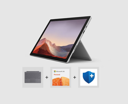 Surface Pro 7, Type Cover, Microsoft 365 logo and Microsoft Complete logo.