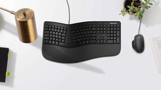 Microsoft Ergonomic Keyboard and Mouse in black.
