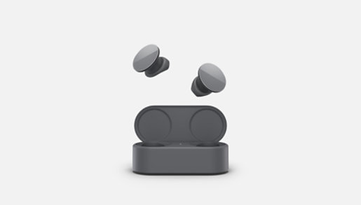 Surface Earbuds and charging case in graphite.