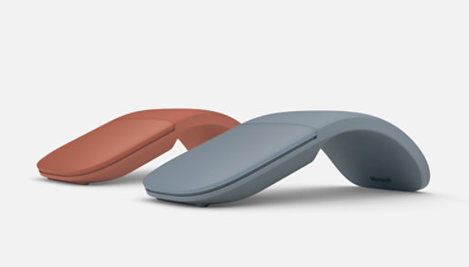 Surface Arc Mouse in Poppy and Ice Blue.