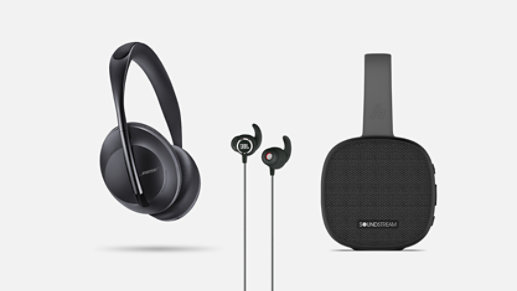 Headphones, earbuds, and a wireless speaker.