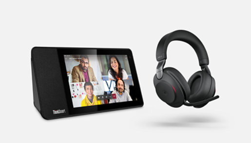 Teams-compatible devices, including a Lenovo ThinkSmart View display and a Jabra headset.