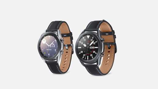 Two Samsung Galaxy Watches.