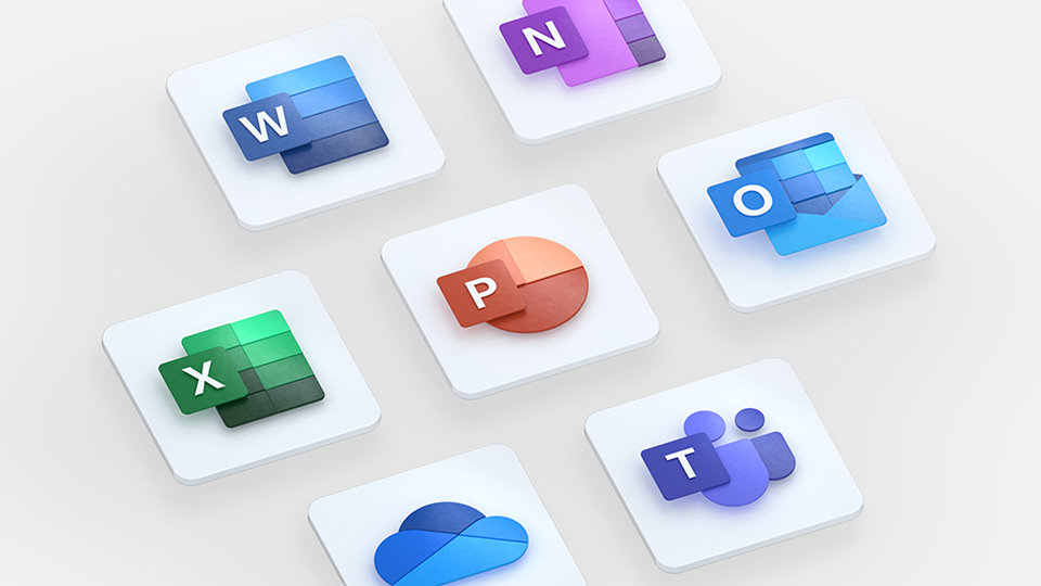 Logos for Microsoft 365 apps, including Word, PowerPoint, Excel, OneNote, Outlook and OneDrive.
