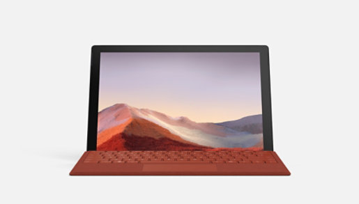 Black Surface Pro 7 showing screen and poppy red Type Cover