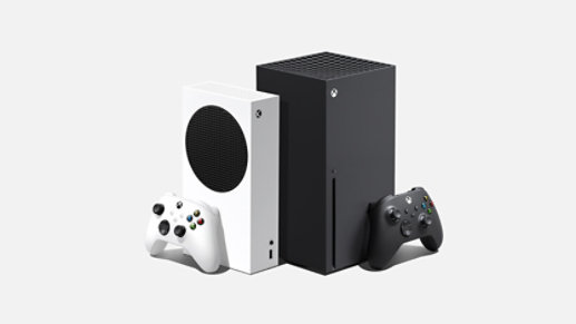 A side angle of the Xbox Series S devices and the Xbox Series X devices in two different colors.