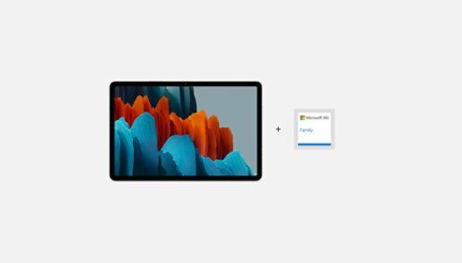 A Samsung Galaxy Tab S7 with Microsoft 365