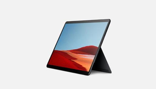 Black Surface Pro X showing kickstand