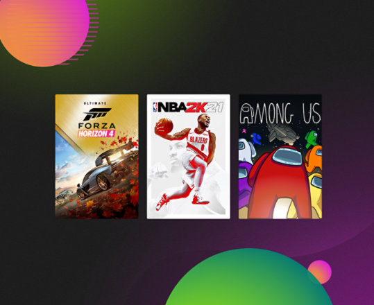 NBA 2K21, Forza Horizon 4 Ultimate and Among Us for Ultimate Game Sale.
