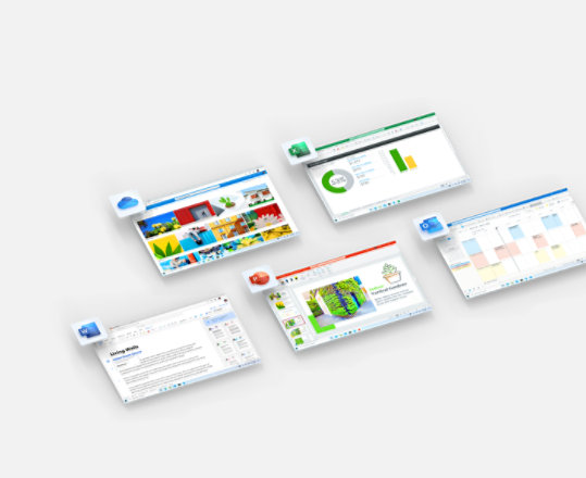 Screens and app icons for Office apps that are part of Microsoft 365