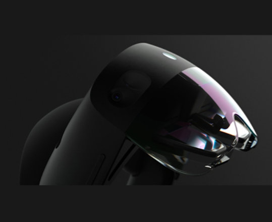 Hololens 2 in side view showcasing the Visor, Headband and volume buttons