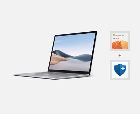 Surface Laptop 4 with Microsoft 365 logo and Microsoft Complete logo.