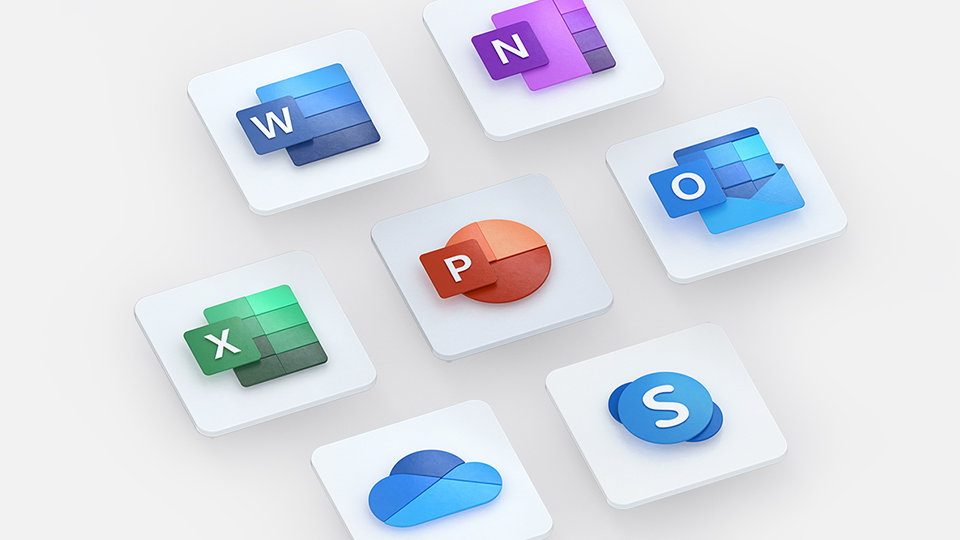 Microsoft 365 logos for Word, PowerPoint, Excel, OneNote, Outlook, and OneDrive.