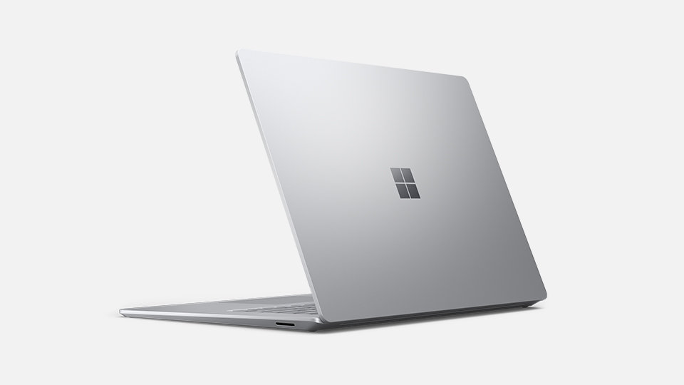 A Surface Laptop 4 in Platinum front angled