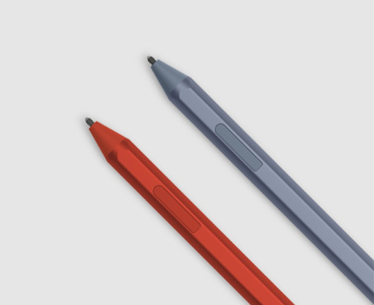 Surface Pen in Poppy Red and Ice Blue.
