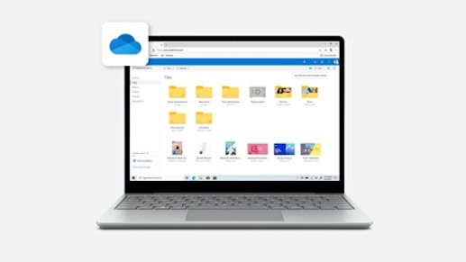 Surface Laptop Go in Platinum with OneDrive onscreen.
