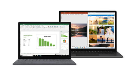 Two Surface Laptop devices.