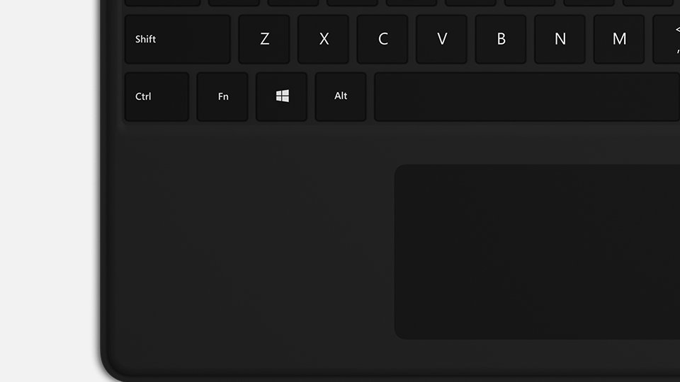 Close-up of keys and trackpad on Surface Pro X Keyboard.