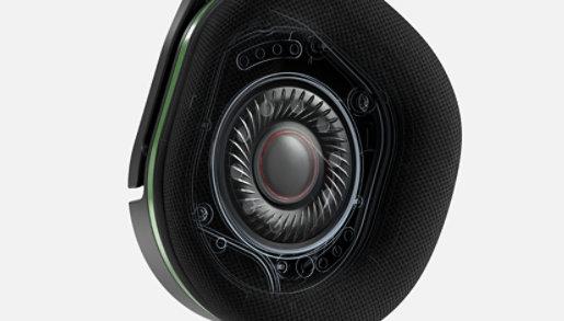 Internal component view of Turtle Beach® Stealth™ 600 Gen 2 Wireless Gaming Headset speaker featuring Superhuman Hearing.