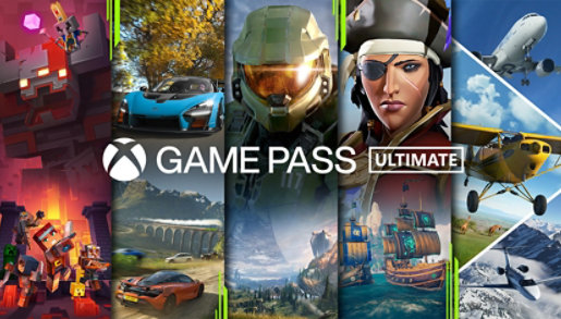 Xbox Game Pass Ultimate logo with various video game characters in the background.