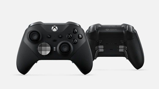 Front and back of the Xbox Elite Wireless Controller.