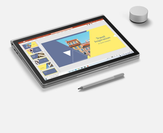 Surface Book 3 in tablet mode. Surface Pen. Surface Dial.