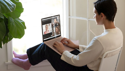 A person joins a video call on Surface Laptop 3.