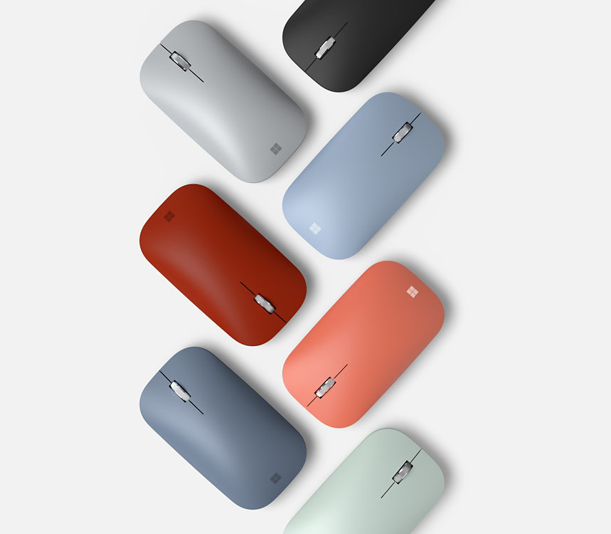Microsoft Modern Mobile Mice in various colors.