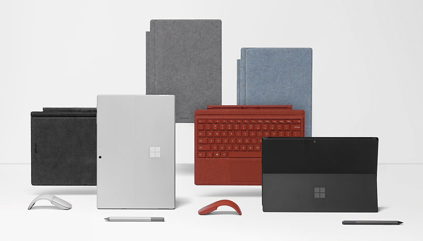 A collection of Surface Pens, devices, and accessories.