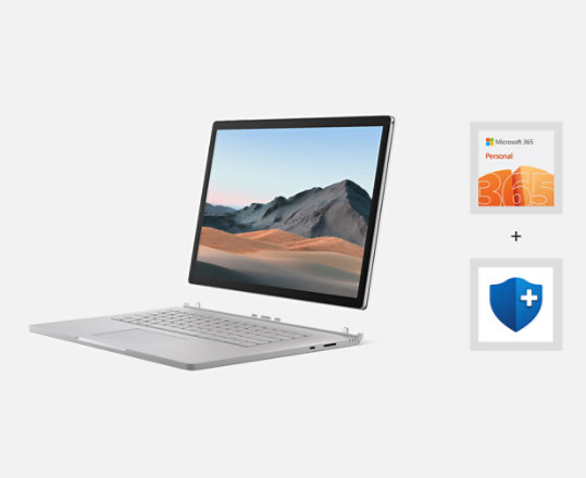 Surface Book 3, Microsoft 365 logo and Microsoft Complete logo.