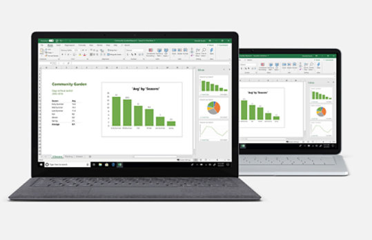Surface Laptop 3 in two screen sizes with Excel charts on the screen.