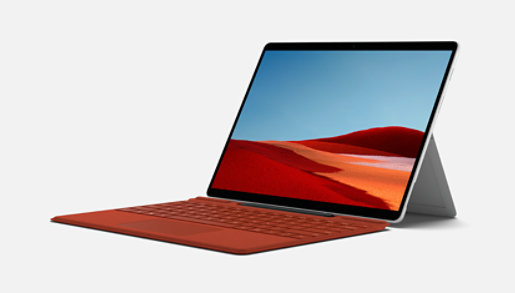 Surface Pro X with Type Cover and extended kickstand.